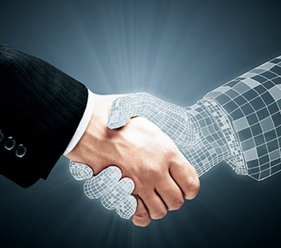 Abstract handshake on grey background. Teamwork and technology concept