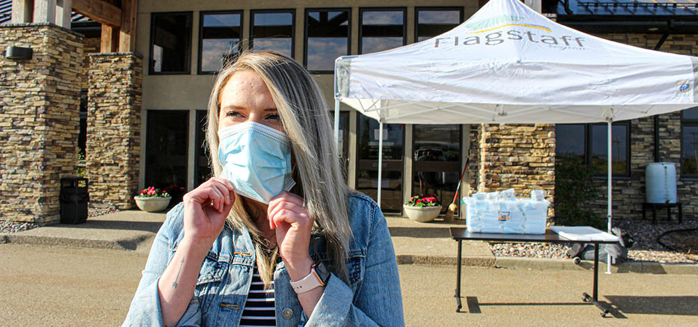 pick up free masks at flagstaff county office